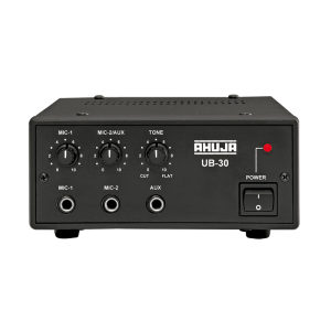 Search Results Web results UB-30 25 WATTS LOW WATTAGE PA MIXER AMPLIFIER Morewww.ahujaradios.com › mixer-amplifiers › ub-30 UB-30. 25 WATTS. LOW WATTAGE PA MIXER AMPLIFIER. 2 Mic & 1 Aux Input. Cut type tone control. 2 POWER SOURCE amplifier: AC mains and 12V DC ... AHUJA UB-30 25W PA AMPLIFIER
